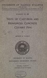 Cover of: Tests of cast-iron and reinforced concrete culvert pipe