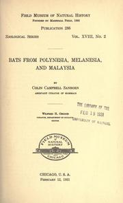Cover of: Bats from Polynesia, Melanesia, and Malaysia