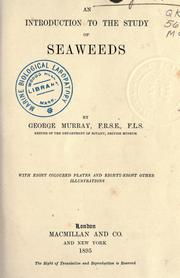 Cover of: An introduction to the study of seaweeds