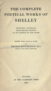 Cover of: The complete poetical works of Shelley