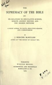 Cover of: The supremacy of the Bible