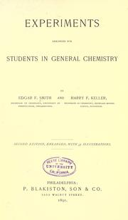 Cover of: Experiments arranged for students in general chemistry
