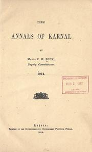Cover of: The annals of Karnal