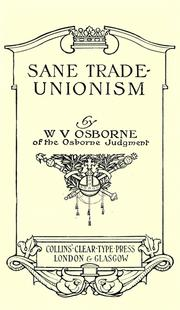 Cover of: Sane trade-unionism