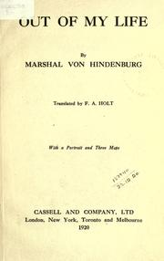 Cover of: Out of my life by Paul von Hindenburg