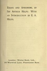 Cover of: Essays and aphorisms