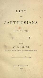 Cover of: List of Carthusians, 1800-1879 by