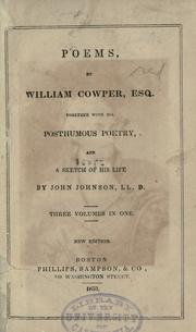 Cover of: Poems by William Cowper, Esq