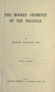 Cover of: The modern geometry of the triangle