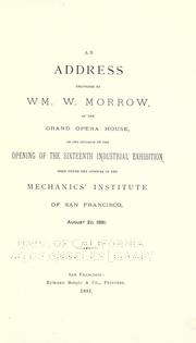 Cover of: An address delivered by Wm. W. Morrow, at the Grand opera house