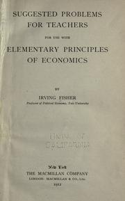 Cover of: Suggested problems for teachers for use with Elementary principles of economics
