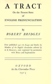 Cover of: A tract on the present state of English pronunciation