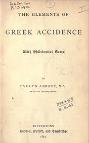 Cover of: The elements of Greek accidence