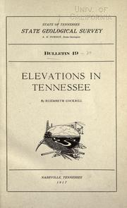 Cover of: Elevations in Tennessee