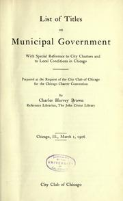 Cover of: List of titles on municipal government