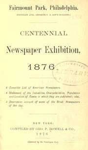 Cover of: Centennial Newspaper Exhibition, 1876 by