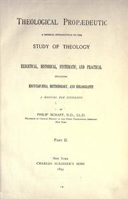 Cover of: Theological propædeutic