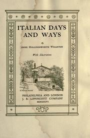Cover of: Italian days and ways