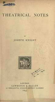 Cover of: Theatrical notes