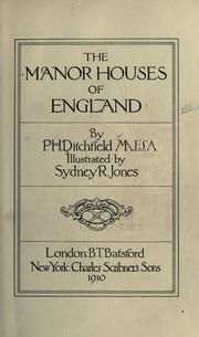 Cover of: The manor houses of England