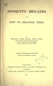 Cover of: Mosquito brigades and how to organise them