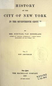 Cover of: History of the city of New York in the seventeenth century