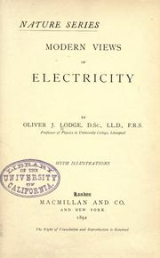 Cover of: Modern views of electricity