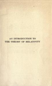Cover of: An introduction to the theory of relativity