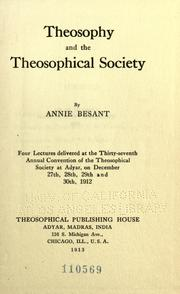 Cover of: Theosophy and the theosophical society