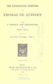Cover of: The uncollected writings of Thomas De Quincey