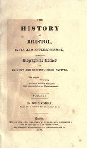 Cover of: The history of Bristol | Corry, John