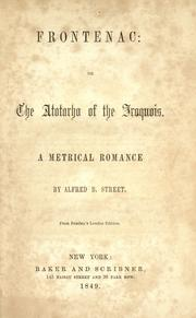 Cover of: Frontenac, or, The Atotarho of the Iroquois