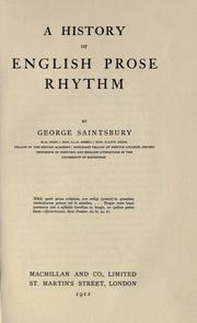 Cover of: A history of English prose rhythm