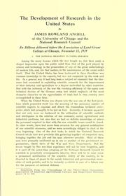 Cover of: The development of research in the United States