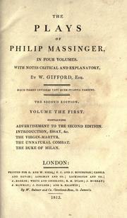 Cover of: The plays of Philip Massinger