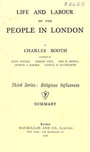 Cover of: Life and labour of the people in London