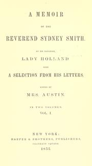 Cover of: A memoir of the Reverend Sydney Smith