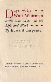 Days with Walt Whitman by Carpenter, Edward