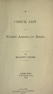 Cover of: A check list of North American birds