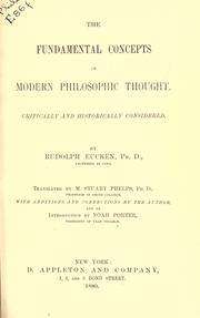 Cover of: The fundamental concepts of modern philosophic thought: critically and historically considered