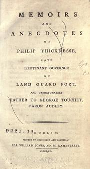 Cover of: Memoirs and anecdotes of Philip Thicknesse