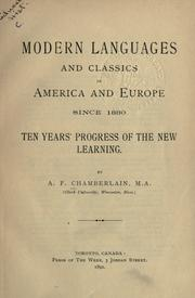 Cover of: Modern languages and classics in America and Europe since 1880