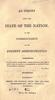Cover of: An inquiry into the state of the nation