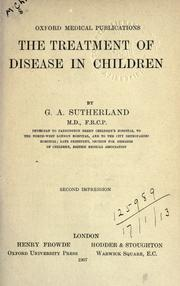 Cover of: The treatment of disease in children