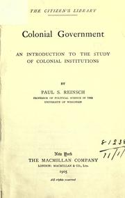 Colonial government by Reinsch, Paul Samuel