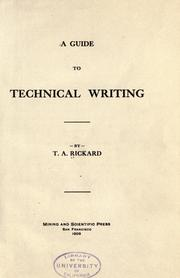 A guide to technical writing by T. A. Rickard