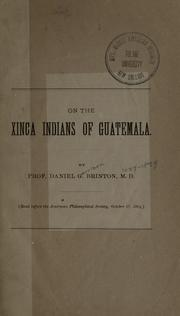 Cover of: On the Xinca Indians of Guatemala