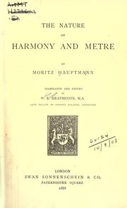 Cover of: The nature of harmony and metre