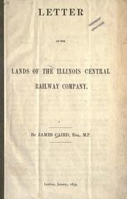 Cover of: Letter on the lands of the Illinois Central Railway Company
