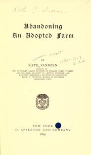 Cover of: Abandoning an adopted farm